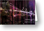 Brooklyn Bridge Mixed Media Greeting Cards - New York City Greeting Card by Christine Mayfield