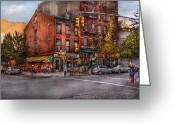 Greenwich Greeting Cards - New York - City - Corner of One way and This way Greeting Card by Mike Savad