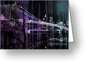 Brooklyn Bridge Mixed Media Greeting Cards - New York City II Greeting Card by Christine Mayfield