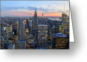 Midtown Greeting Cards - New York City Manhattan Empire State Building at Dusk NYC Panorama Greeting Card by Jon Holiday