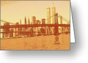 Brooklyn Bridge Mixed Media Greeting Cards - New York City Manhattan Skyline Greeting Card by Peter Art Prints Posters Gallery