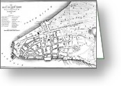 New York City Map Greeting Cards - New York City Map, 1728 Greeting Card by Granger
