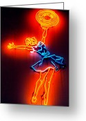 Cheerleader     Greeting Cards - New York City Neon Cheerleader Greeting Card by Matthew Bamberg