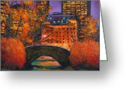 Manhattan Street Scenes Greeting Cards - New York City Night Autumn Greeting Card by Johnathan Harris