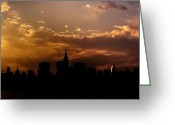 Manhattan Sunset Greeting Cards - New York City Skyline at Sunset Panorama Greeting Card by Vivienne Gucwa