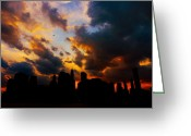 Landscapes Greeting Cards - New York City Skyline at Sunset Under Clouds Greeting Card by Vivienne Gucwa
