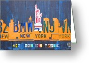 Transportation Mixed Media Greeting Cards - New York City Skyline License Plate Art Greeting Card by Design Turnpike