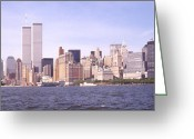 Twin Towers World Trade Center Greeting Cards - New York City Skyline Greeting Card by Mike McGlothlen