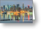 Landscapes Greeting Cards - New York City Skyline Morning Twilight I Greeting Card by Clarence Holmes