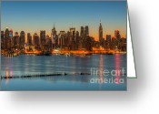 Landscapes Greeting Cards - New York City Skyline Morning Twilight III Greeting Card by Clarence Holmes