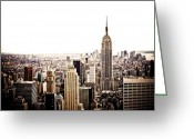 Nyc Cityscape Greeting Cards - New York City Skyline Greeting Card by Vivienne Gucwa