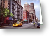 Bicycle Greeting Cards - New York City Street Scene on a Beautiful Day Greeting Card by Vivienne Gucwa