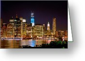 Cities Greeting Cards - New York City Tribute in Lights and Lower Manhattan at Night NYC Greeting Card by Jon Holiday