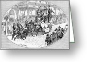 Coaching Greeting Cards - New York: Coaching, 1876 Greeting Card by Granger