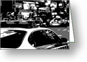 New York City Police Greeting Cards - New York Cop Car BW3 Greeting Card by Scott Kelley
