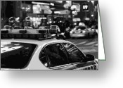 New York City Police Greeting Cards - New York Cop Car BW8 Greeting Card by Scott Kelley