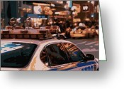 New York City Police Greeting Cards - New York Cop Car Color 16 Greeting Card by Scott Kelley
