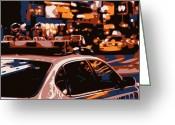New York City Police Greeting Cards - New York Cop Car Color 6 Greeting Card by Scott Kelley