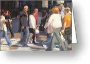 Cities Greeting Cards - New York Crosswalk Greeting Card by Merle Keller