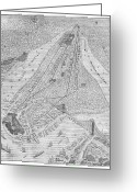 New York City Map Greeting Cards - NEW YORK: EL TRAIN, c1878 Greeting Card by Granger