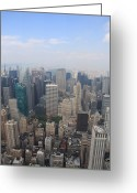 Birdseye Greeting Cards - New York From Above Greeting Card by Christiane Schulze