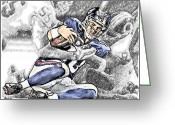 Eli Manning Greeting Cards - New York Giants Eli Manning is sacked Washington Redskins Chris Wilson Greeting Card by Jack Kurzenknabe