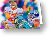 Eli Manning Greeting Cards - New York Giants Eli Manning Greeting Card by Jack Kurzenknabe