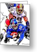 Eli Manning Greeting Cards - New York Giants Eli Manning -San Francisco 49ers Parys Haralson Greeting Card by Jack Kurzenknabe