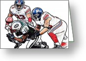 Santonio Holmes Greeting Cards - New York Giants Michael Boley and Corey Webster New York Jets Santonio Holmes Greeting Card by Jack Kurzenknabe