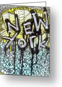 Lowbrow Mixed Media Greeting Cards - New York Graffiti Scene Greeting Card by Robert Wolverton Jr