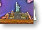 Renaissance Center Greeting Cards - New York in Las Vegas Greeting Card by Nicholas  Grunas