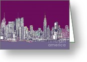 Buildings Drawings Greeting Cards - New York in purple Greeting Card by Lee-Ann Adendorff