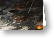 Cataclysm Greeting Cards - New York Is Being Pummeled By Meteors Greeting Card by Ron Miller