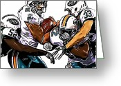 Miami Dolphins Greeting Cards - New York Jets David Harris and Eric Smith - Miami Dolphins Lex Hilliard and Reggie Bush Greeting Card by Jack Kurzenknabe
