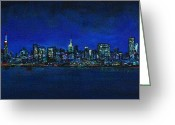 Skylines Painting Greeting Cards - New York New York Greeting Card by Frances Marino