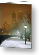 Towers Greeting Cards - New York Nocturne Greeting Card by Max Ferguson