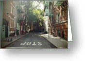 Manhattan Greeting Cards - New York On Idealic Street Greeting Card by Lori Andrews