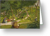 Pram Greeting Cards - New York Park Greeting Card by George Luks