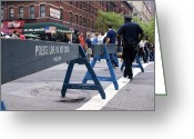 New York Cops Greeting Cards - New York Police Crowd Control Barriers. Greeting Card by Mark Williamson