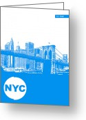 Manhattan Digital Art Greeting Cards - New York Poster Greeting Card by Irina  March