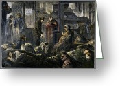 Winter Sleep Greeting Cards - New York: Poverty, 1869 Greeting Card by Granger