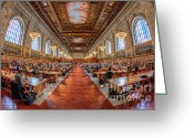 Fisheye Greeting Cards - New York Public Library Main Reading Room I Greeting Card by Clarence Holmes