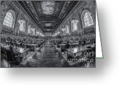 Rose Main Reading Room Greeting Cards - New York Public Library Main Reading Room IV Greeting Card by Clarence Holmes