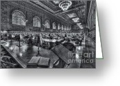 Rose Main Reading Room Greeting Cards - New York Public Library Main Reading Room VI Greeting Card by Clarence Holmes