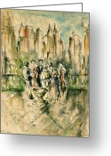 Masterpiece Drawings Greeting Cards - New York Roof Party - Impressionistic Greeting Card by Peter Art Prints Posters Gallery