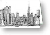 Framed Drawings Greeting Cards - New York skyline in Ink Greeting Card by Lee-Ann Adendorff