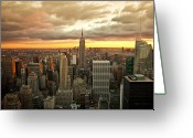 Rockefellar Greeting Cards - New York Skyline Sunset Greeting Card by Brian Ray
