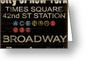 Vintage Mixed Media Greeting Cards - New York Subway Greeting Card by Grace Pullen