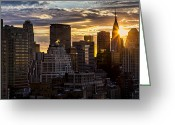 Sun Flare Greeting Cards - New York Sunrise Greeting Card by Janet Fikar