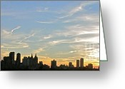Randi Shenkman Greeting Cards - New York Sunset 2 Greeting Card by Randi Shenkman